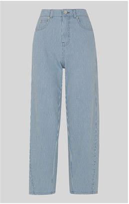 Whistles Stripe High Waist Barrel Jean