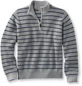 L.L. Bean Cotton/Cashmere Sweater, Waffle Quarter-Zip Stripe