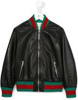 Gucci Kids - contrast stripe leather jacket - kids - Cotton/Lamb Skin/Polyamide/Metallic Fibre - 8 yrs