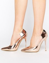 Lost Ink Freya Rose Gold Curved Pumps
