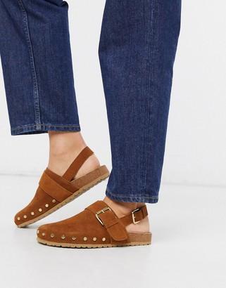 ASOS DESIGN Millennium suede studded flat shoes in cognac