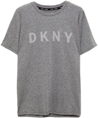 DKNY Printed Melange Stretch Cotton And Modal-blend T-shirt