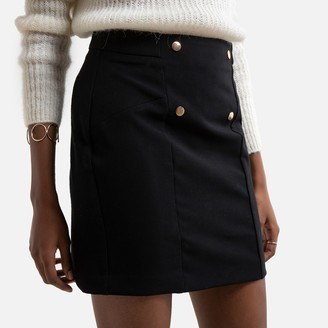 Naf Naf Straight Mini Skirt with Button Detail and Zip