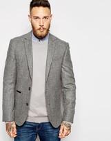 Asos Slim Suit Jacket In Tweed