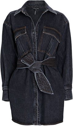 Marissa Webb Skylar Denim Cargo Shirt Dress