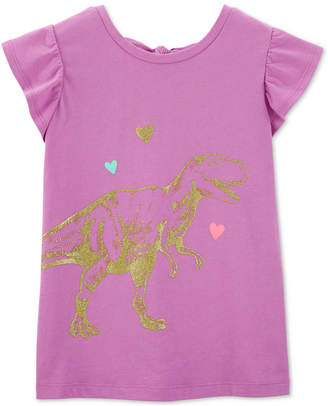 Carter's Carter Little & Big Girls Bow-Back Dinosaur-Print Cotton T-Shirt
