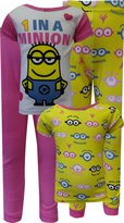 AME Sleepwear Despicable Me 2 One In A Minion Toddler 4 Piece Pajamas for girls
