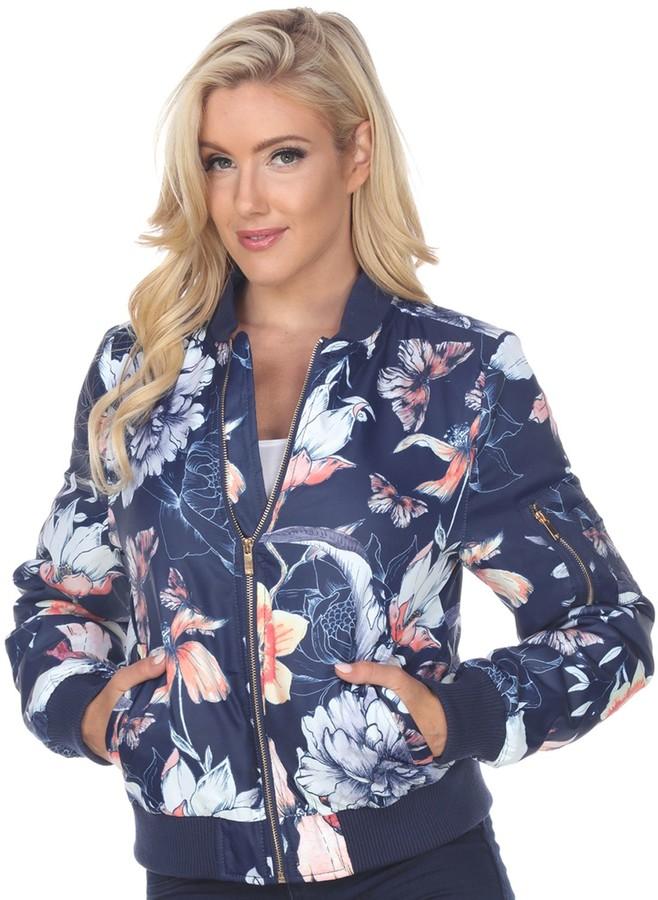 White Mark Women/'s Floral Bomber Jacket