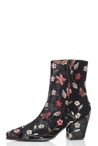 Quiz Black Floral Embroidered Pointed Low Heel Ankle Boots
