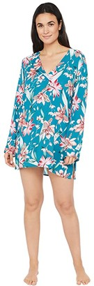 La Blanca Flyaway Orchid V-Neck Tunic Swimsuit Cover-Up (Caribbean Current) Women's Swimwear