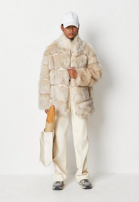 Missguided Cream Pelted Faux Fur High Collar Coat