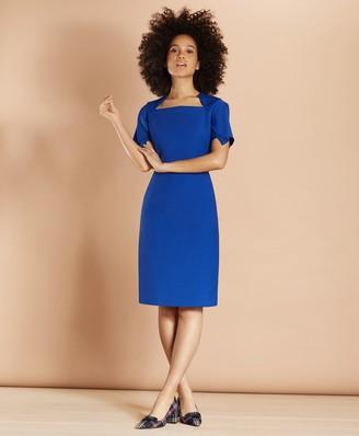 Brooks Brothers Flutter-Sleeve Wool-Blend Crepe Dress