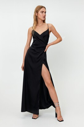 Nasty Gal Womens Satin V Neck Slit Maxi Dress - Black - 4