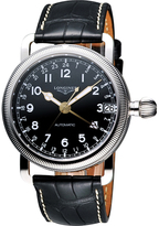 Longines Avigation L27784532 Men's Round Black Leather Watch