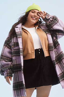 Forever 21 Plus Size Button-Front Plaid Jacket