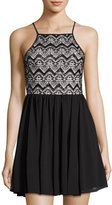 Romeo & Juliet Couture Sequined Lace & Mesh Dress, Black/White