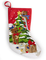 "Holiday Lane 19"" Crewel Stitch Teddy Stocking"