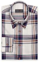 Large checks in navy/brown/red