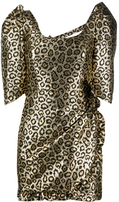 Alessandra Rich Leopard Print Puff Sleeve Dress