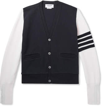 Thom Browne Slim-Fit Striped Colour-Block Cotton-Pique Cardigan