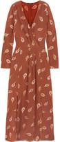 Madewell Night Flower Printed Silk Crepe De Chine Maxi Dress - Brown