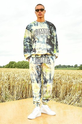 boohoo Mens Yellow Varsity Homme Tie Dye jumper Tracksuit, Yellow