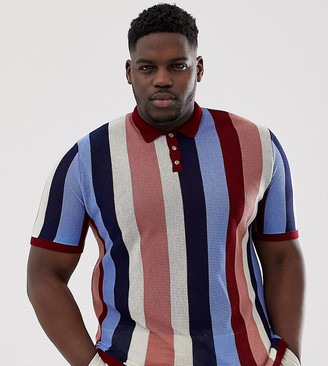 Asos DESIGN Plus knitted vertical stripe polo t-shirt