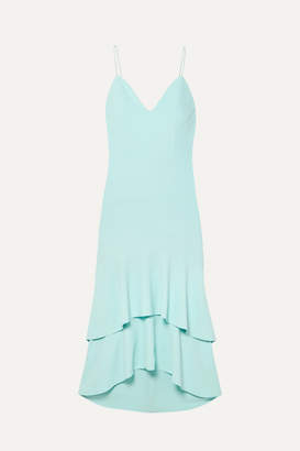 Alice + Olivia Alice Olivia - Amina Tiered Silk Satin-trimmed Crepe Midi Dress - Sky blue