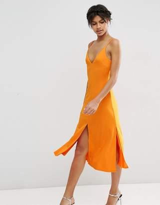 Asos Design Cami Front Midi Slip Dress-Orange