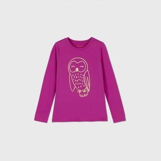 Cat & Jack Girls' Long Sleeve Owl Graphic T-Shirt - Cat & JackTM