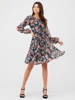 Very Mesh Ruched Front Mini Dress - Floral