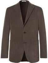 Boglioli Brown Slim-fit Brushed Stretch-cotton Twill Suit Jacket