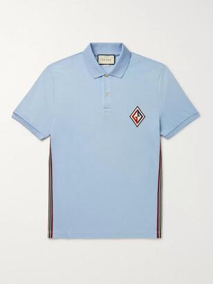 Gucci Logo-Appliqued Striped Cotton-Blend Pique Polo Shirt