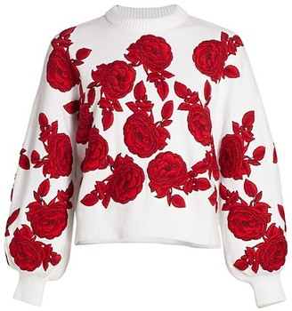 Alice + Olivia Carwen Embroidered Balloon-Sleeve Knit Sweater