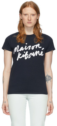 MAISON KITSUNÉ Navy Handwriting Logo T-Shirt