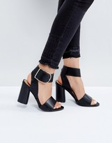 boohoo Buckle Detail Block Heeled Sandal