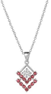 A&M A & M Silver-Tone Ruby Accent Triangle Pendant Necklace