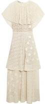 Stella McCartney Appliquéd Tiered Cotton-blend Lace Gown - Ivory