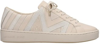 Michael Kors Whitney Lace Up Sneakers In Beige Leather