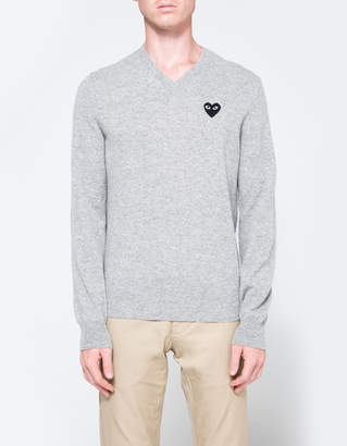 Comme des Garcons Play V-Neck Pullover in Light Grey