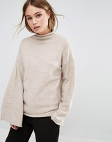 Fashion Union Sweater With High Neck And Wide Sleeves