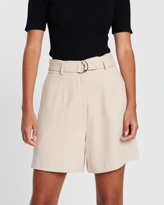 FRIEND of AUDREY - Women's Neutrals High-Waisted - Gemma Tailored D-Ring Shorts - Size One Size, 6 at The Iconic