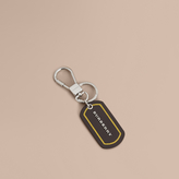 Burberry Border Detail London Leather Key Charm