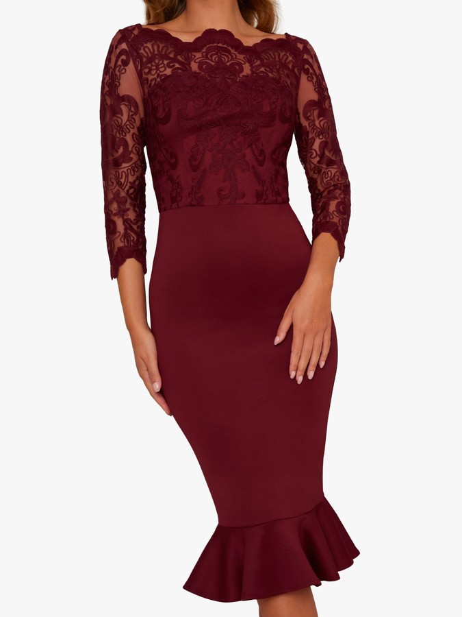 Chi Chi London Harlia Bodycon Dress, Burgundy