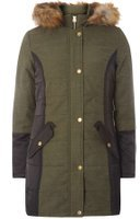 Dorothy Perkins Womens Khaki Twill Padded Coat- Khaki