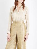 Etro Striped metallic silk-blend shirt