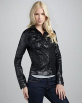 7 For All Mankind Black Lacquer Motorcycle Jacket