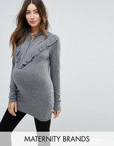 Mama Licious Mama.licious Mamalicious Ruffle Detail Jumper With High Neck