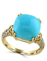 Effy Turquoise, Diamond and 14K Yellow Gold Ring