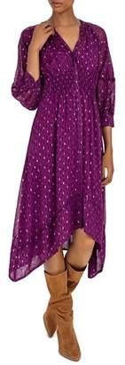 BA&SH Cyana Balloon-Sleeve Midi Dress
